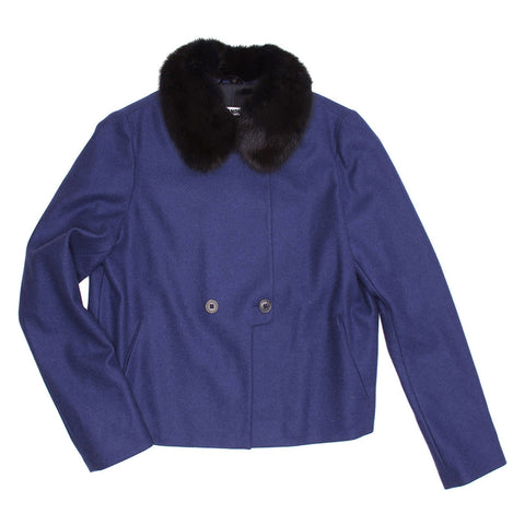 Blue Wool & Fur Short Coat