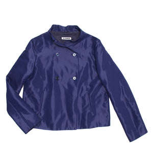 Find an authentic preowned Jil Sander Blue Shiny Cropped Jacket, size 40 (French) at BunnyJack, where a portion of every sale goes to charity.