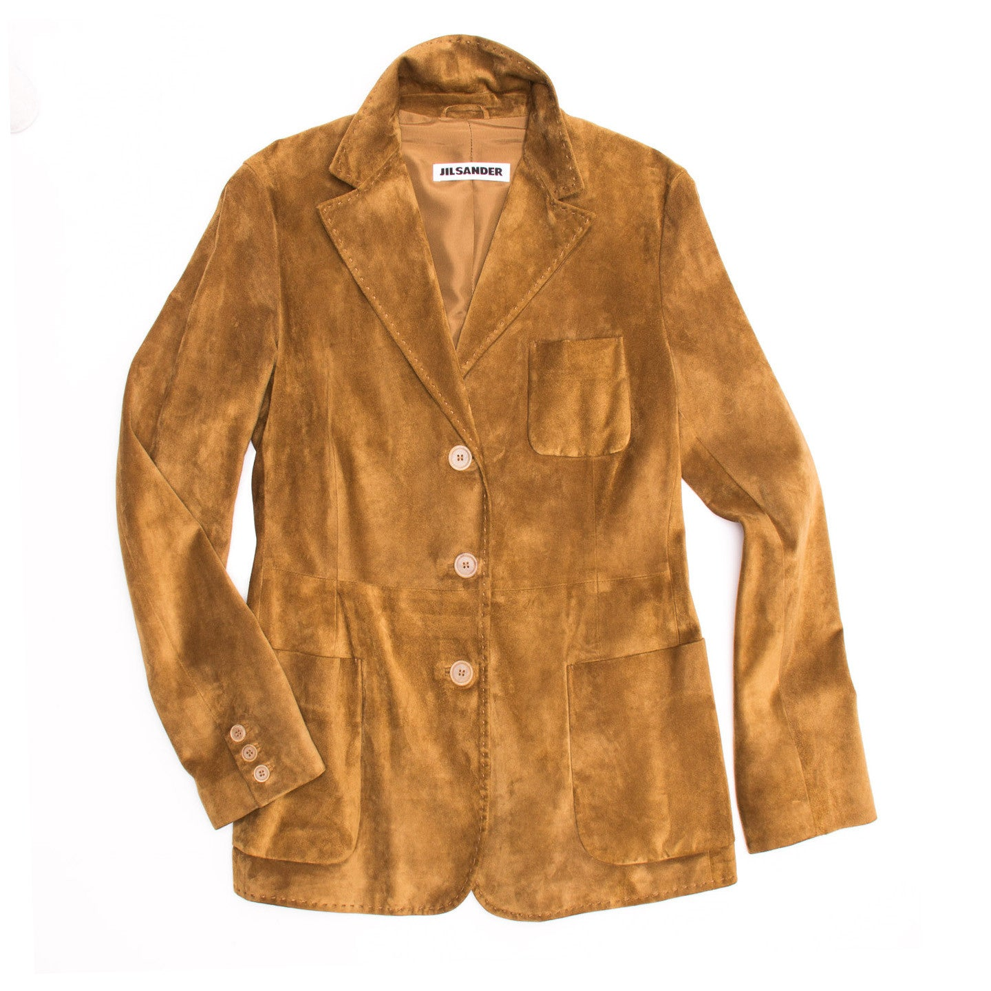 Find authentic preowned Jil Sander Caramel Suede Blazer, size 42 (French) at BunnyJack, where a portion of every sale goes to charity.