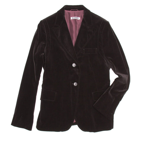 Find an authentic preowned Jil Sander Black Velvet Blazer, size 40 (French) at BunnyJack, where a portion of every sale goes to charity.