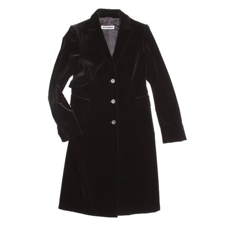 Jil Sander Black Cotton Velvet Coat, size 40 (French)