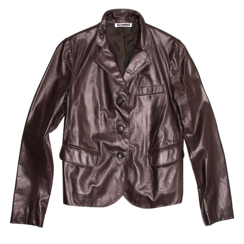 Find authentic preowned Jil Sander Brown Leather Blazer, size 42 (French) at BunnyJack, where a portion of every sale goes to charity.
