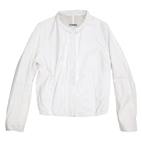 Jil Sander White Leather Bomber Jacket, size 40 (French)