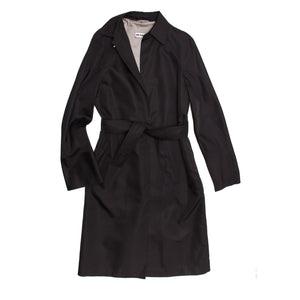Find an authentic preowned Jil Sander Black Silk Belted Coat, size 40 (French) at BunnyJack, where a portion of every sale goes to charity.