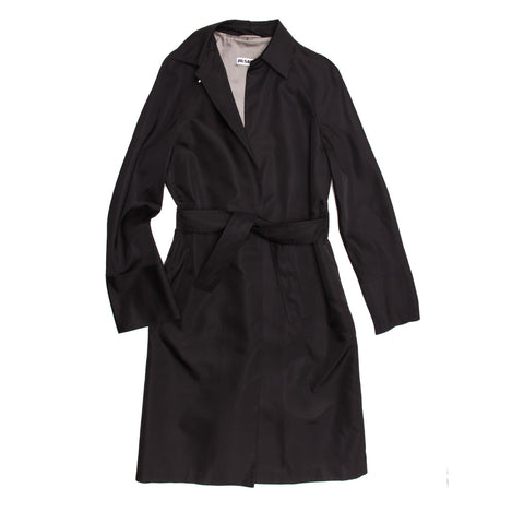 Jil Sander Black Silk Belted Coat, size 40 (French)