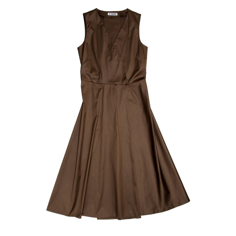 Brown Cotton Sleeveless Wrap Dress