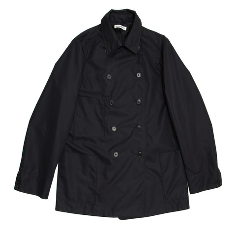 Jil Sander Navy Double Breasted Raincoat, size 40 (French)