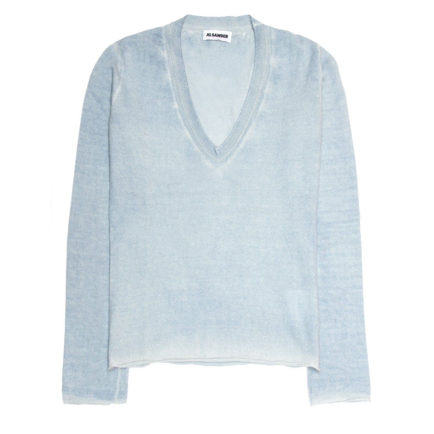 Find an authentic preowned Jil Sander Blue Cashmere Sprayed Sweater, size 38 (French) at BunnyJack, where a portion of every sale goes to charity.