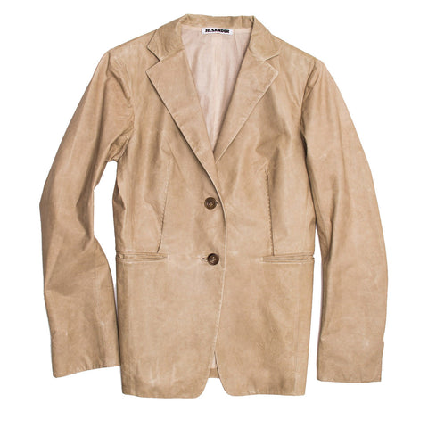 Jil Sander Sand Leather Blazer, size 40 (French)