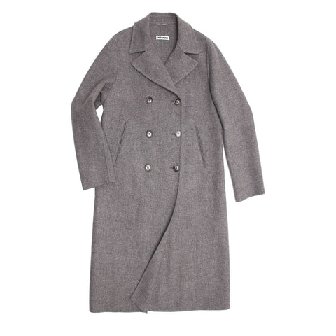 Jil Sander Grey Cashmere Double Breasted Coat, size 38 (French)
