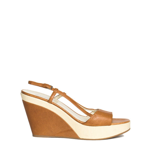 Jil Sander Tan & Beige Leather Sandal, size 40.5 (Italian)