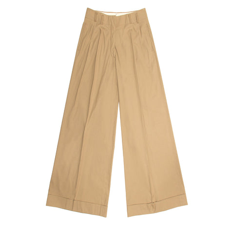 Jil Sander Khaki Cotton Wide Pants, size 38 (French)