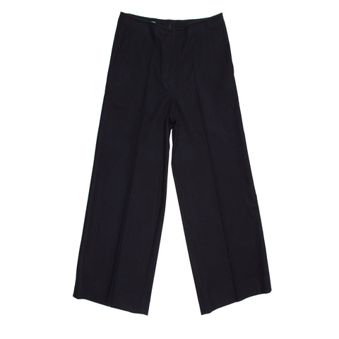 Black Wool Wide Cropped Trousers