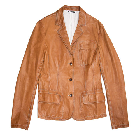 Jil Sander Tan Leather Blazer, size 40 (French)