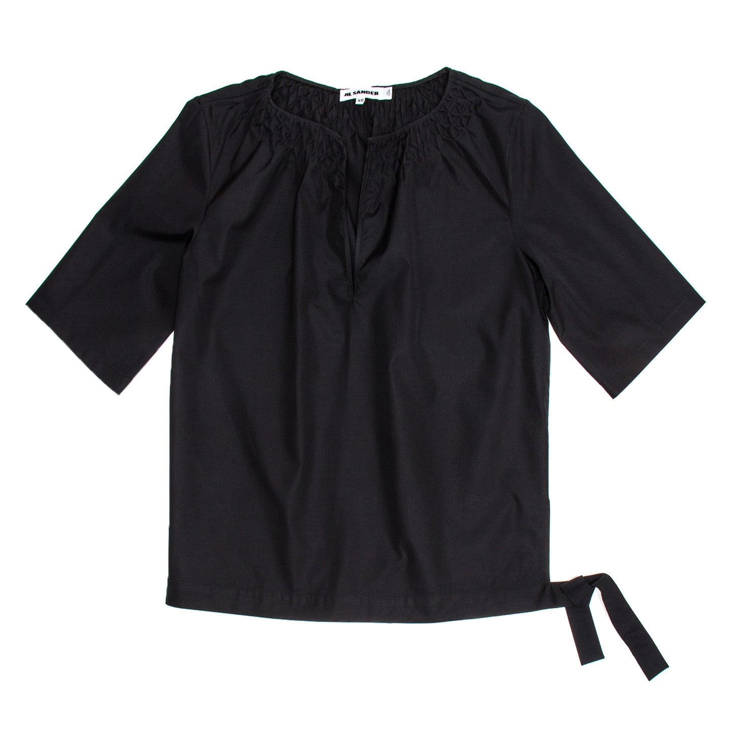 Find an authentic preowned Jil Sander Black Cotton Top, size 40 (French) at BunnyJack, where a portion of every sale goes to charity.