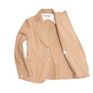 Comme Des Garcons Tan Cotton Fitted Blazer, Size M