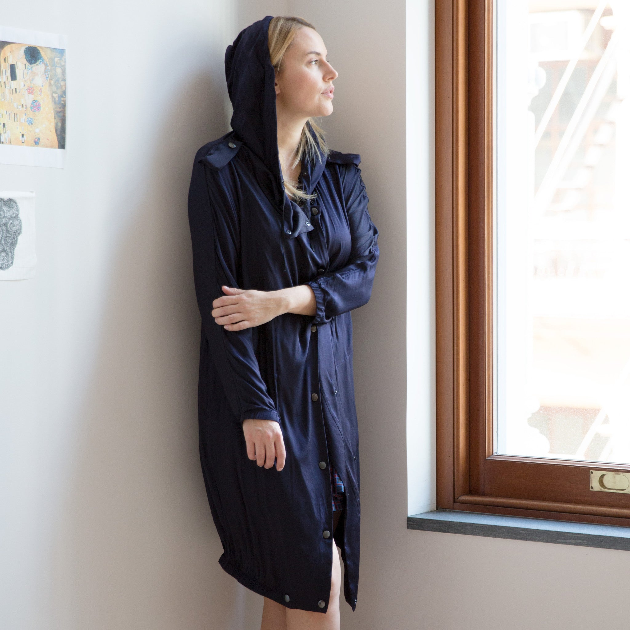 Find an authentic preowned Lanvin Midnight Blue Silk Hooded Parka, size 42 (French) at BunnyJack, where a portion of every sale goes to charity.