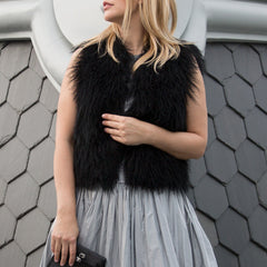 Find a Black Mongolian Fur Gilet by Browns Focus, authentic and preowned. Available in size L at BunnyJack, where a portion of each sale price goes to charity.