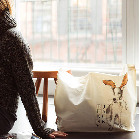 Natural Cotton Printed Tote Bag