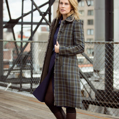 Find an authentic preowned Prada Brown Musk & Blue Tartan Coat size 46 (Italian) at BunnyJack, where up to 50% of each sale price is donated to charity.