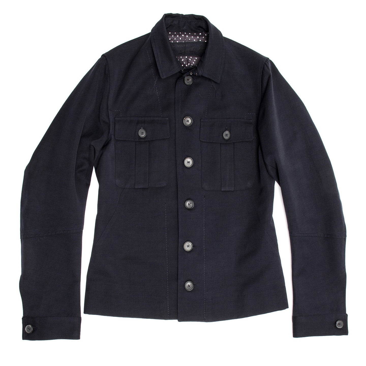 Navy Cotton Casual Jacket