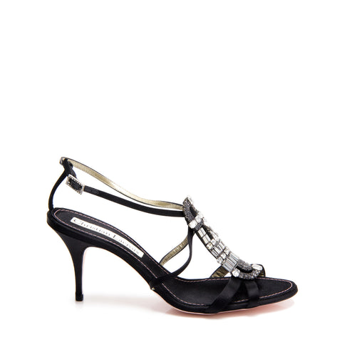 Christian Lacroix Black Satin & Crystals Sandals, size 40.5 (Italian)