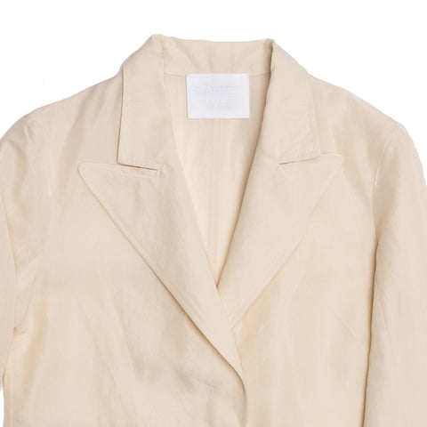 Find an authentic preowned Lanvin Cream Raw Silk Blazer, size 40 (French) at BunnyJack, where a portion of every sale goes to charity.