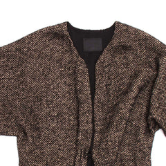 Find an authentic preowned Lanvin Brown Multicolor Herringbone Overcoat, size 38 (French) at BunnyJack, where a portion of every sale goes to charity.