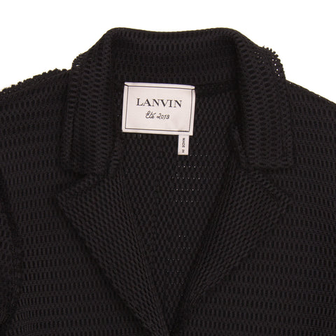 Find an authentic preowned Lanvin Black Perforated Blazer, size 42 (French) at BunnyJack, where a portion of every sale goes to charity.