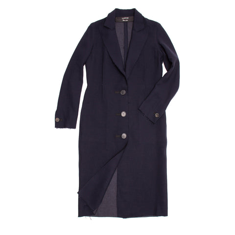 Lanvin Navy Wool Long Coat, size 40 (French)