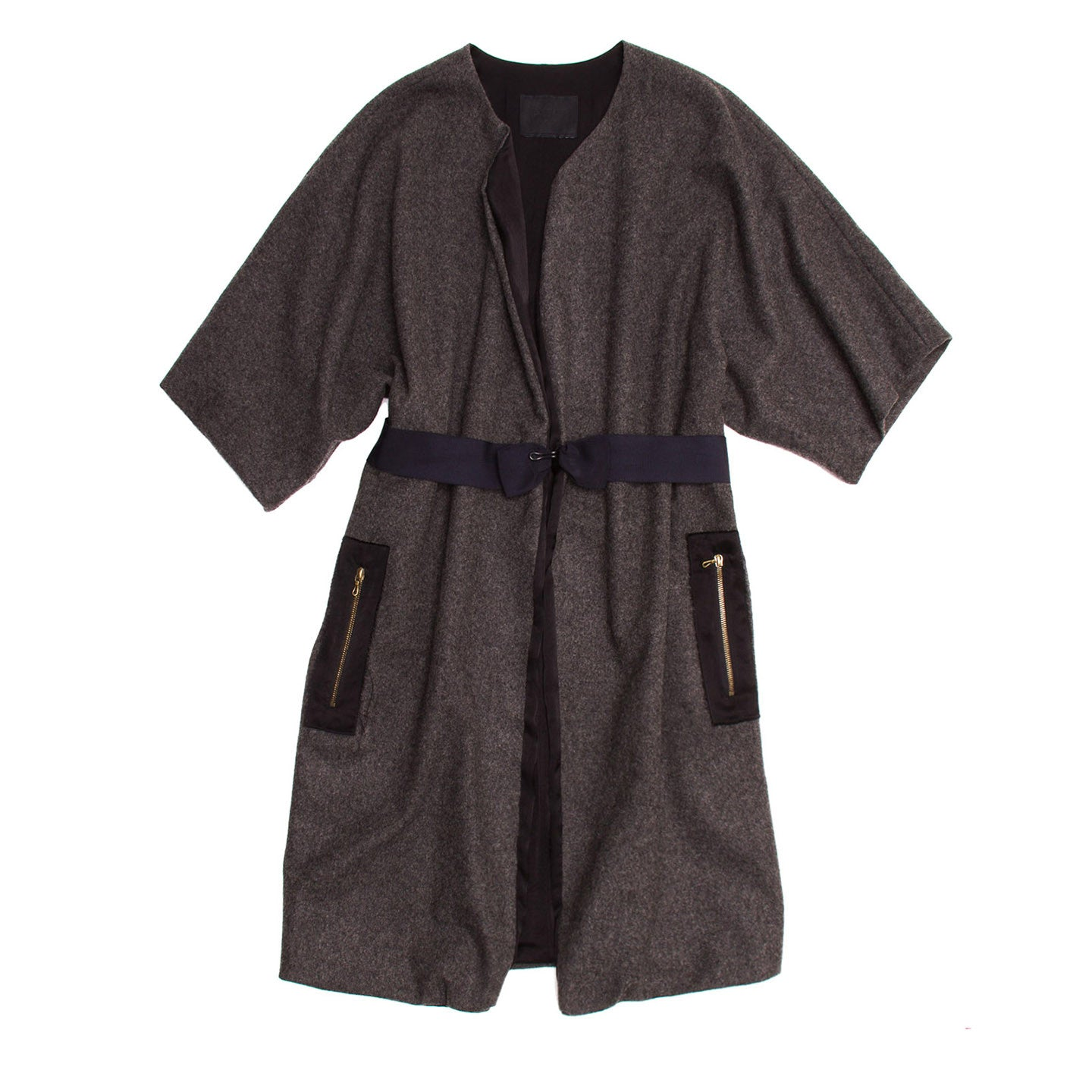 Find an authentic preowned Lanvin Grey Wool Kimono Sleeved Coat, size 40 (French) at BunnyJack, where a portion of every sale goes to charity.