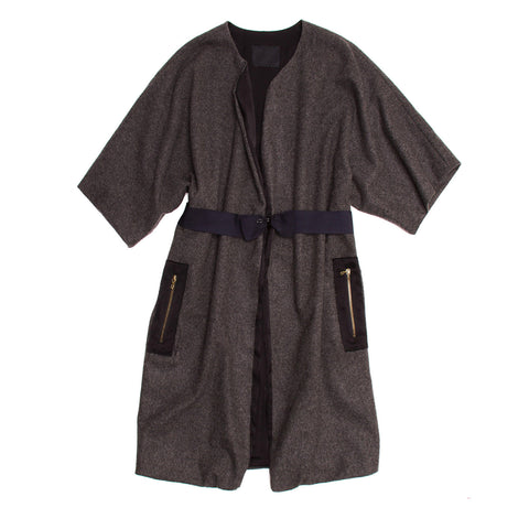 Lanvin Grey Wool Kimono Sleeved Coat, size 40 (French)