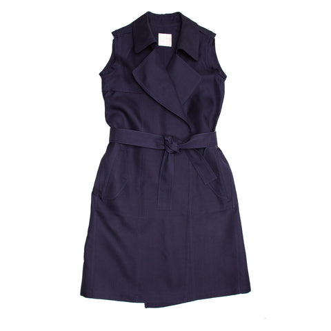 Lanvin Navy Sleeveless Trench Style Dress, size 40 (French)