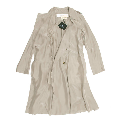 Find an authentic preowned Lanvin Taupe Silk Trench Coat, size 40 (French) at BunnyJack, where a portion of every sale goes to charity.