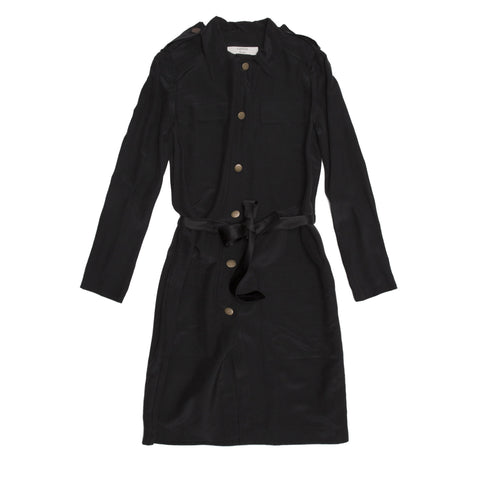Lanvin Black Silk Shirt Dress, size 40 (French)