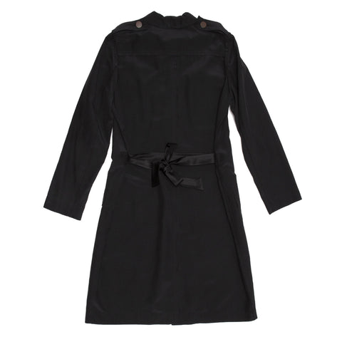 Find an authentic preowned Lanvin Black Silk Shirt Dress, size 40 (French) at BunnyJack, where a portion of every sale goes to charity.