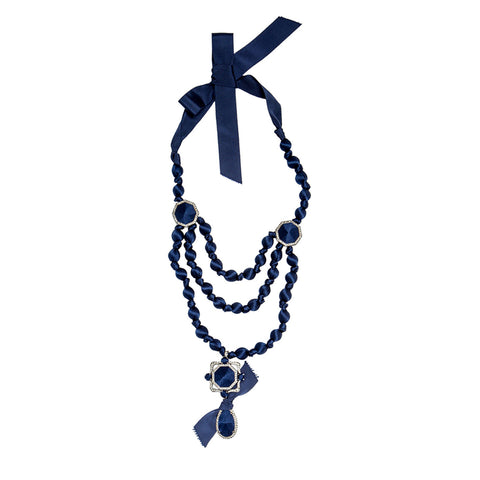 Blue Ribbon & Crystal Necklace