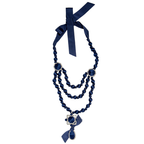 Find an authentic preowned Lanvin Blue Ribbon & Crystal Necklace at BunnyJack, where a portion of every sale goes to charity.