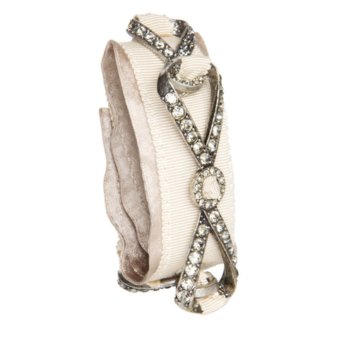 Find an authentic preowned Lanvin Beige Ribbons & Crystals Bracelet, size M at BunnyJack, where a portion of every sale goes to charity.