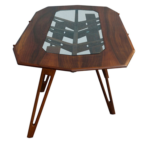 Dark Walnut & Glass Table