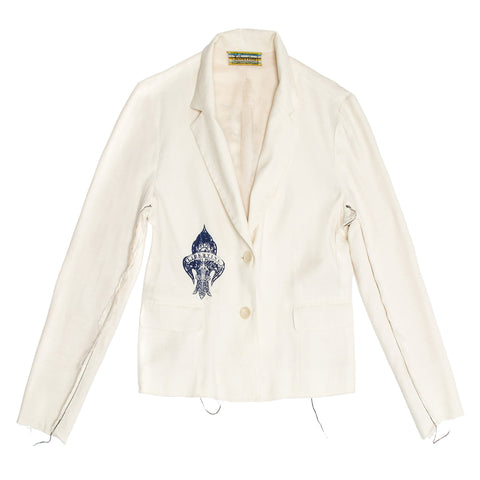 Libertine Beige Cotton Printed Blazer