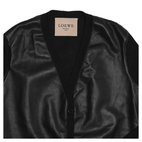 Black Cashmere & Leather Cardigan