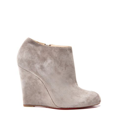 Christian Louboutin Grey Suede Ankle Boot Wedges, size 41.5 (Italian)