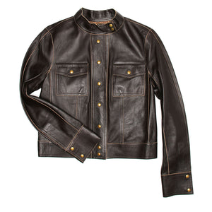 Louis Vuitton Brown Leather Short Jacket, Size 40 (French)