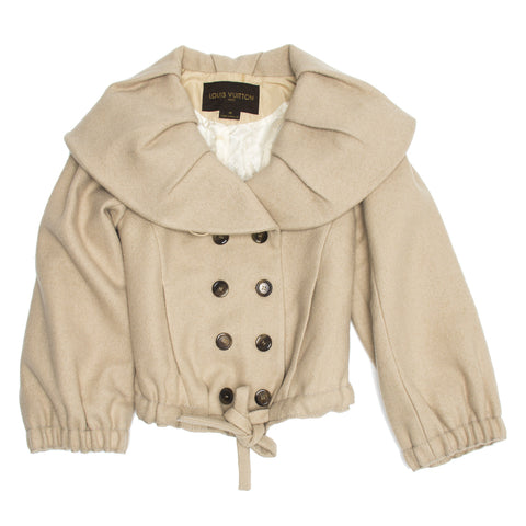 Beige Wool Shawl Collar Jacket