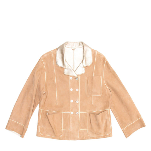 Louis Vuitton Tan Suede & Gold Leather Jacket, Size 38 (French)