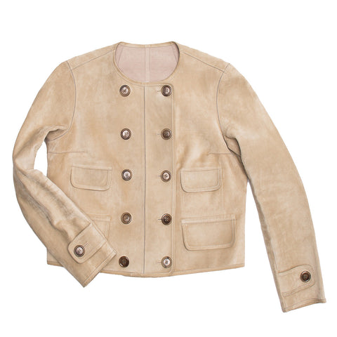 Louis Vuitton Tan Suede Cropped Jacket, Size 40 (French)