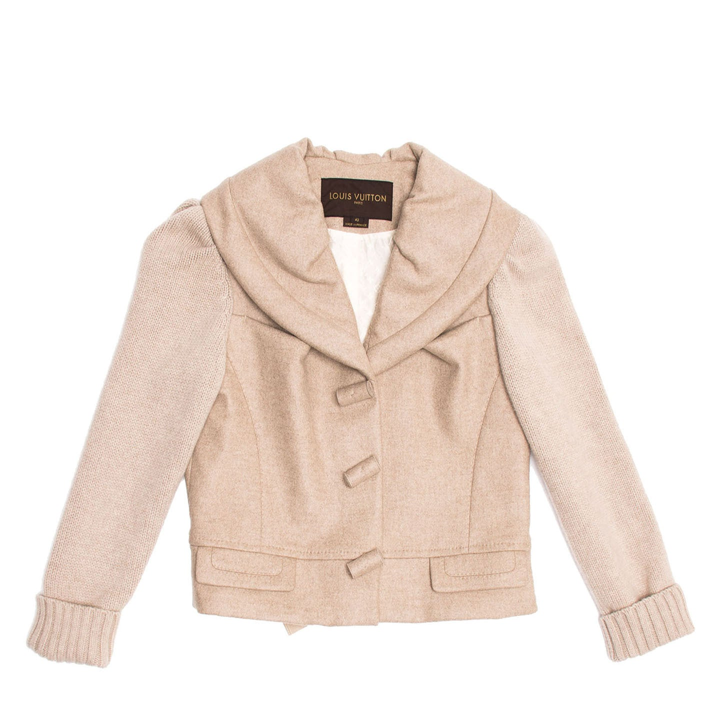Louis Vuitton Ecru Cashmere Cropped Jacket, Size 42 (French)
