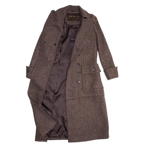 Louis Vuitton Brown Wool Tweed Hooded Coat, Size 42 (French)