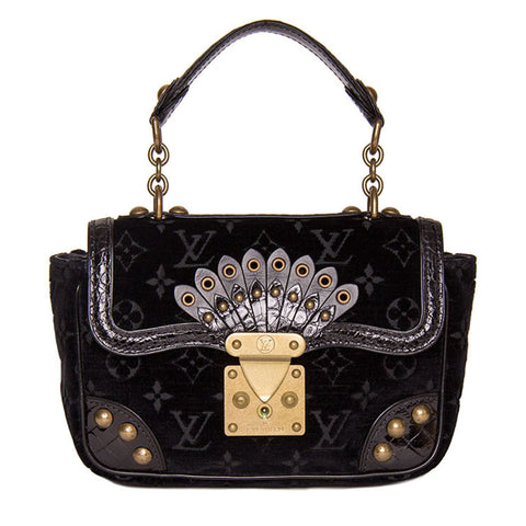 Louis Vuitton Black Velvet & Crocodile Small Bag